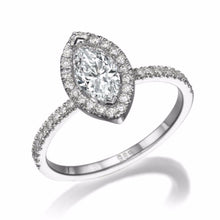"Load image into Gallery viewer, 1.5 Carat 14K Rose Gold Moissanite & Diamonds ""Melanie"" Engagement Ring"