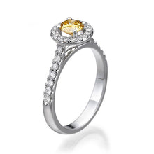 "Load image into Gallery viewer, 0.7 Carat 14K White Gold Yellow Sapphire & Diamonds ""Holly"" Engagement Ring"