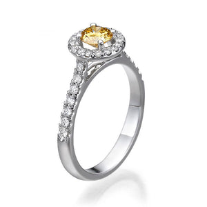 "0.7 Carat 14K White Gold Yellow Sapphire & Diamonds ""Holly"" Engagement Ring"