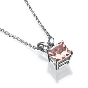 "2 Carat 14K Rose Gold Morganite ""Leah"" Pendant"