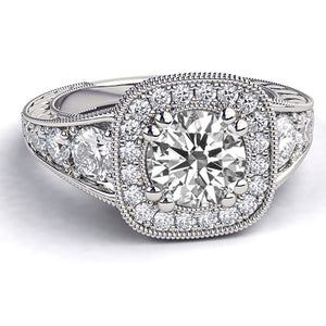 "1.8 TCW 14K White Gold Moissanite ""Elizabeth"" Engagement Ring"