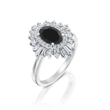 "Load image into Gallery viewer, 2 Carat 14K Rose Gold Black Diamond Oval ""Gatsby"" Engagement Ring"