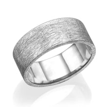 Load image into Gallery viewer, 8.7MM 14K White Gold Carved Surface Wedding Band