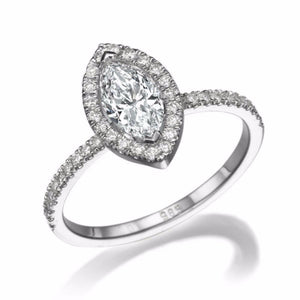 1.5 Carat 14K White Gold Moissanite & Diamonds