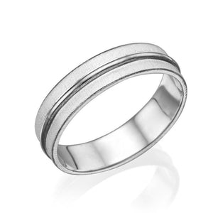 14K White Gold Satin Finish With Shiny Center Men Wedding Band