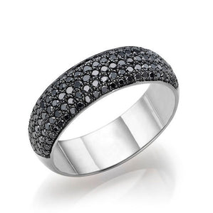"1.5 TCW 14K White Gold Black Diamond ""Patricia"" Wedding Band"