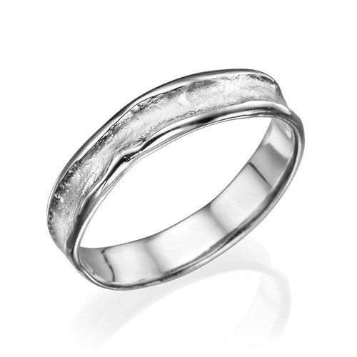 5MM 14K White Gold Rugged Center Wedding Band