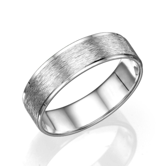 6MM 14K White Gold Brushed Swirl Finish Men Wedding Band