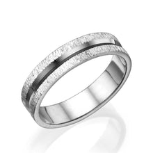 Load image into Gallery viewer, 5MM 14K White Gold Shiny Channel Center Men Wedding Band