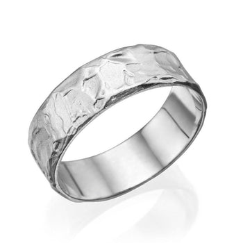 6.5MM 14K White Gold Fancy Texture Men Wedding Band