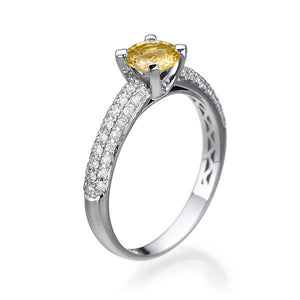 "1 Carat 14K White Gold Yellow Sapphire & Diamonds ""Carmen"" Engagement Ring 