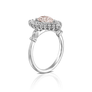 "2 Carat 14K White Gold Pear Morganite & Diamonds ""Gatsby"" Engagement Ring"