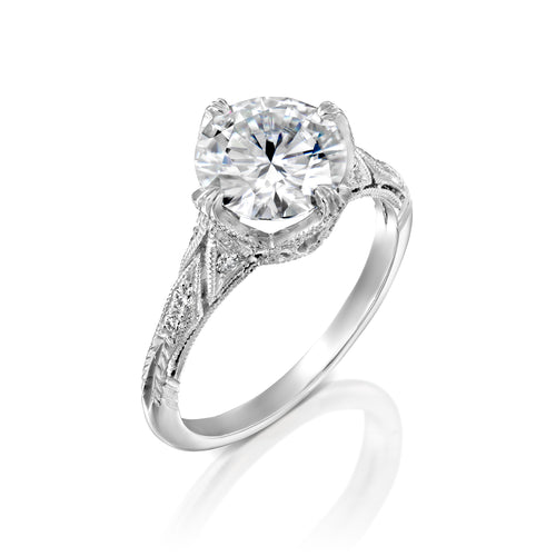 2.1 Carat 14K White Gold Moissanite & Diamonds