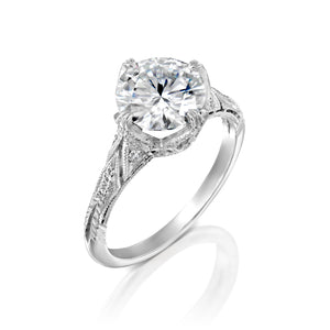 "2.1 Carat 14K White Gold Moissanite & Diamonds ""Patricia"" Engagement Ring"