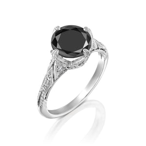 "3.2 Carat 14K Rose Gold Black Diamond ""Patricia"" Ring"