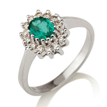 "Load image into Gallery viewer, 1.3 Carat 14K White Gold Emerald & Diamonds ""Yvette"" Engagement Ring"