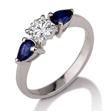 "Load image into Gallery viewer, 1.5 Carat 14K White Gold Moissanite & Sapphire ""Eleanora"" Engagement Ring"