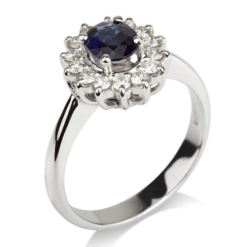 1.2 Carat 14K White Gold Blue Sapphire & Diamonds