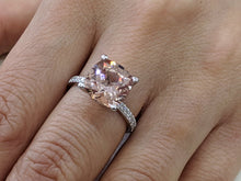 "Load image into Gallery viewer, 3.5 Carat 14K White Gold Morganite & Diamonds ""Tia"" Engagement Ring"