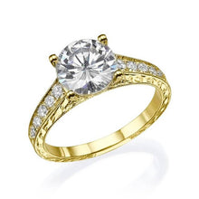 "Load image into Gallery viewer, 2.2 Carat 14K Yellow Gold Moissanite & Diamonds ""Veronica"" Engagement Ring"