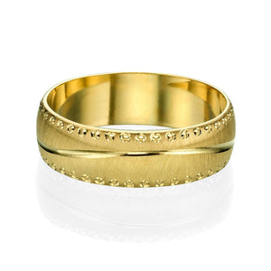 6MM 14K Yellow Gold Rounded Modern Men Wedding Band - Diamonds Mine