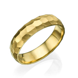 5MM 14K Yellow Gold Hammered Style Men Wedding Band