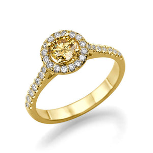 "0.7 Carat 14K Yellow Gold Yellow Sapphire & Diamonds ""Holly"" Engagement Ring"