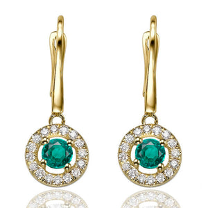 "0.8 Carat 14K White Gold Emerald & Diamonds ""Carole"" Earrings 