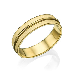 14K Rose Gold Satin Finish With Shiny Center Men Wedding Band