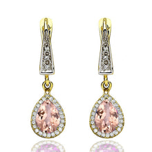 "Load image into Gallery viewer, 2 Carat 14K Rose Gold Morganite & Diamonds ""Francie"" Earrings 