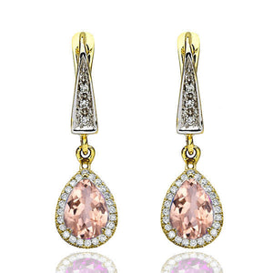 "2 Carat 14K Rose Gold Morganite & Diamonds ""Francie"" Earrings 