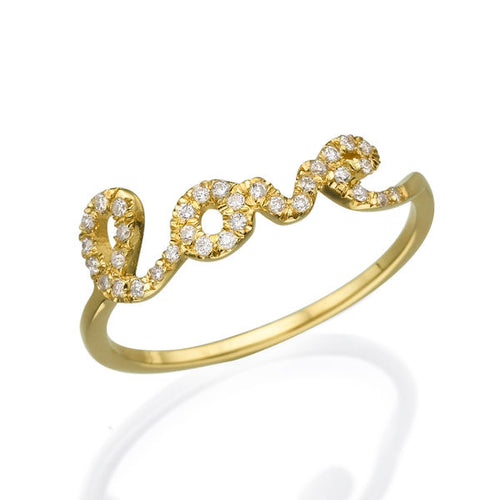 0.11 TCW 14K Yellow Gold Diamond Love Ring - Diamonds Mine