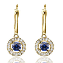 "Load image into Gallery viewer, 0.6 Carat 14K Yellow Gold Blue Sapphire & Diamonds ""Carole"" Earrings"