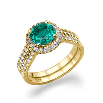 1.4 Carat 14K Yellow Gold Emerald & Diamonds