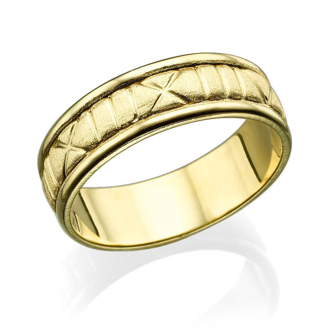 6.5MM 14K Yellow Gold Roman Numerals Men Wedding Band