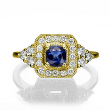"Load image into Gallery viewer, 0.84 TCW 14K White Gold Bluse Sapphire ""Danna"" Engagement Ring - Diamonds Mine"
