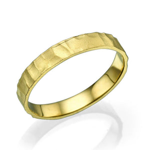 3.5MM 14K Yellow Gold Gentle Hammered Wedding Band