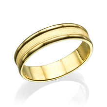 Load image into Gallery viewer, 5MM 14K Yellow Gold Beveled Edges Men Wedding Band