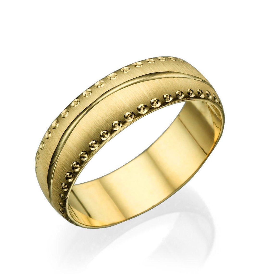 6MM 14K Yellow Gold Rounded Modern Men Wedding Band