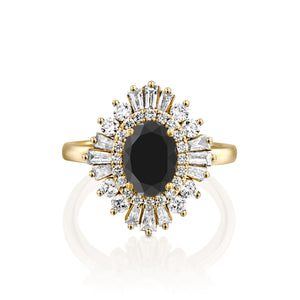 1.75 Carat 14K Yellow Gold Black Diamond Oval
