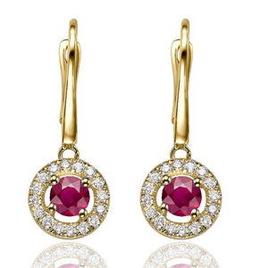 "0.6 TCW 14K Yellow Gold Ruby ""Carole"" Earrings"