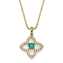 Load image into Gallery viewer, 0.6 TCW 18K Yellow Gold Emerald Flower Pendant