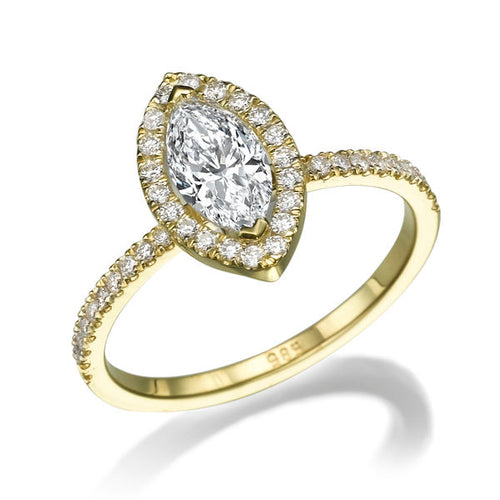 1.5 Carat 14K Yellow Gold Moissanite & Diamonds