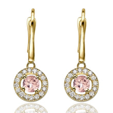 "Load image into Gallery viewer, 1.2 Carat 14K Yellow Gold Morganite & Diamonds ""Carole"" Earrings"