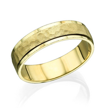 Load image into Gallery viewer, 5.5MM 14K Yellow Gold Hammered Center Wedding Band