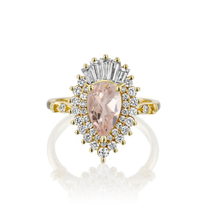 2 Carat 14K Yellow Gold Pear Morganite & Diamonds
