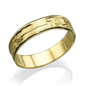 5.2MM 14K Yellow Gold Sand Pattern Wedding Band