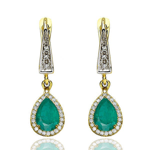 "2 Carat 14K White Gold Emerald & Diamonds ""Francie"" Earrings 