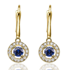 "0.6 TCW 14K White Gold Blue Sapphire ""Carole"" Earrings"