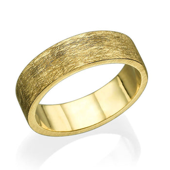 6.6MM 14K Yellow Gold Scratched Design Men Wedding Band